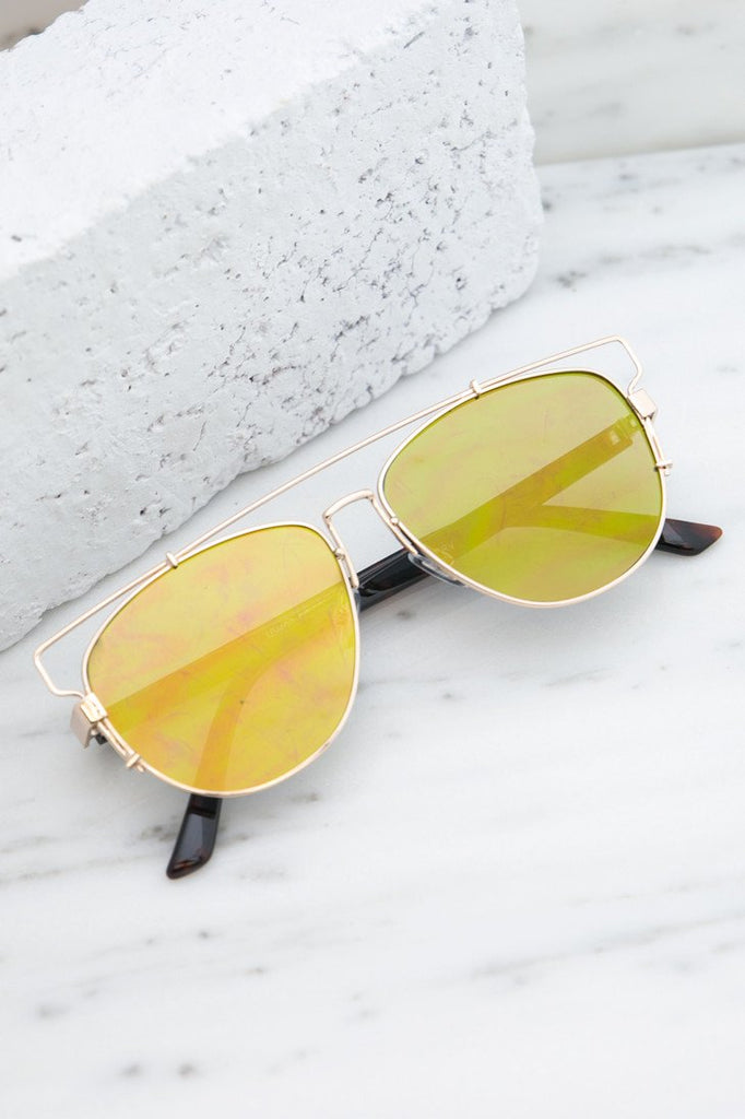 Amelia Reflective Aviators  - Yellow