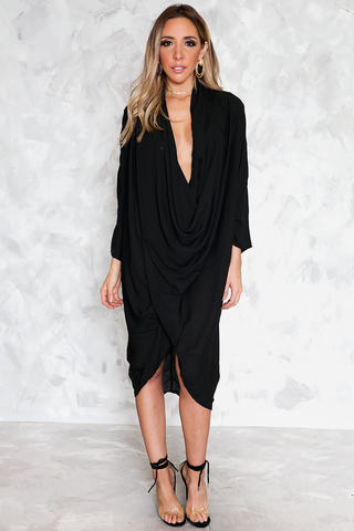 BASIC 3/4 SLEEVE BLACK DRESS