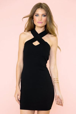 Mini Dress with Cross Strap Back