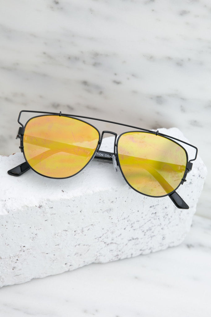 Amelia Reflective Aviators  - Black/Yellow