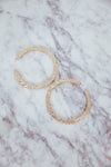 Dented Gold Metal Hoop Earring