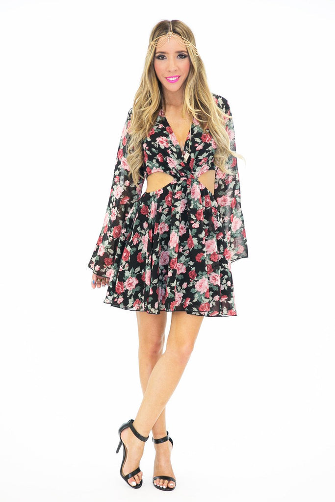 JENA FLORAL CUTOUT CHIFFON DRESS