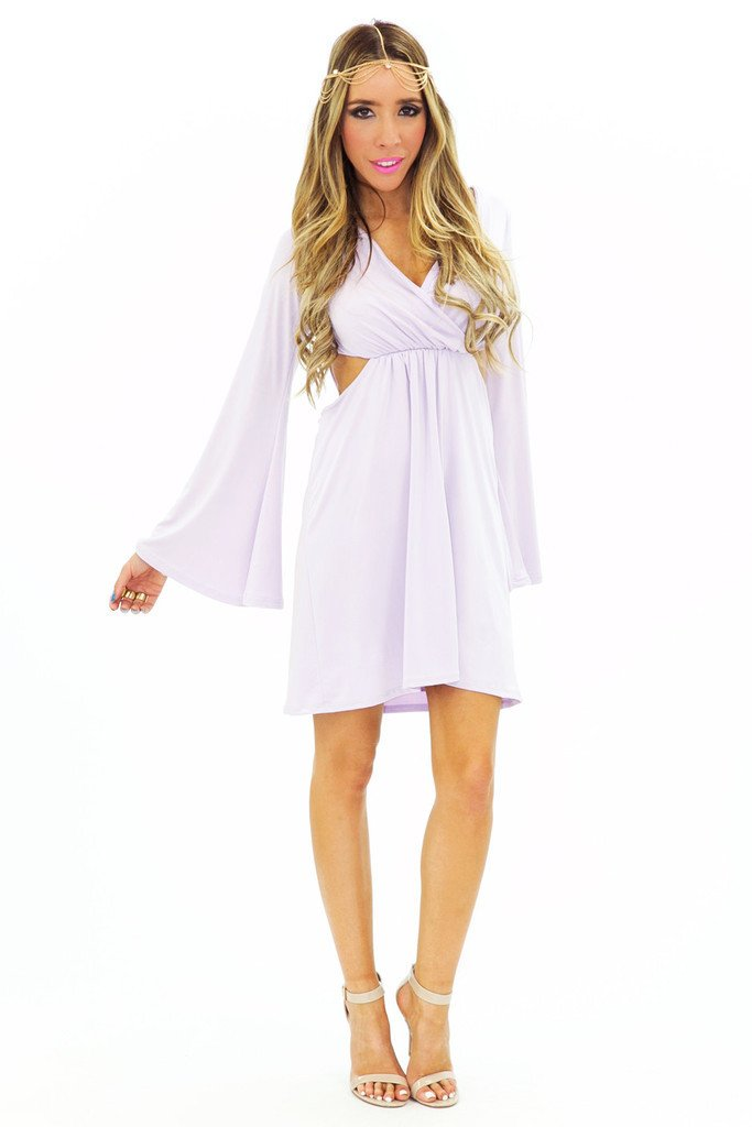 BELL SLEEVE CUTOUT DRESS - Lavender