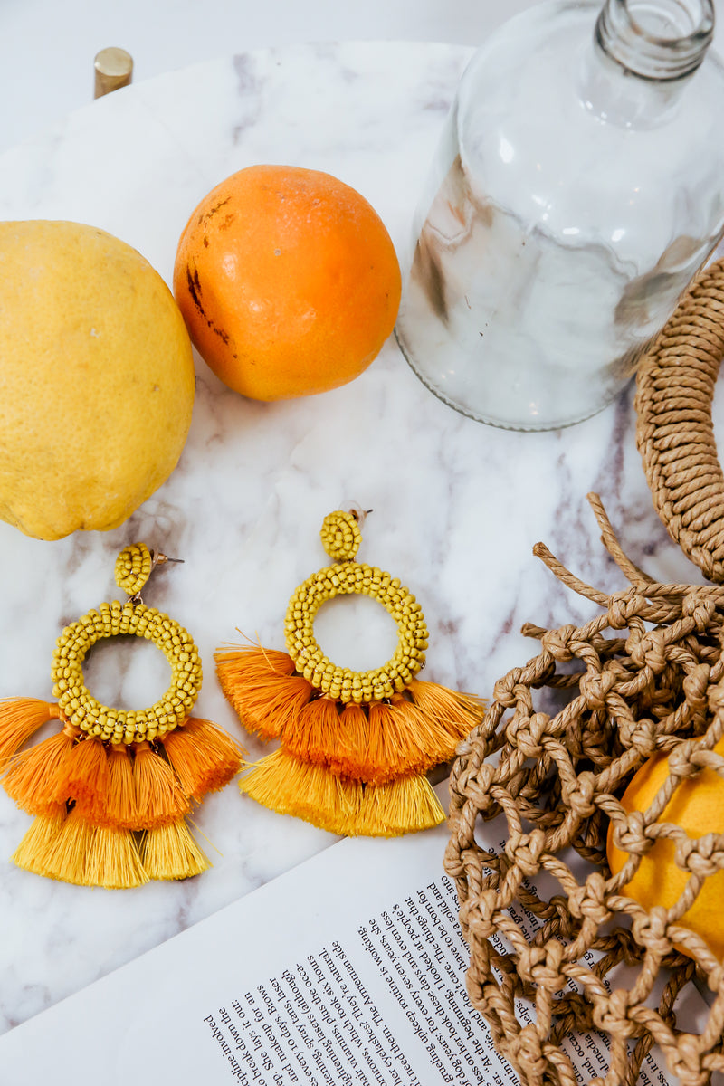 Fringe Tassel Earrings with Beads