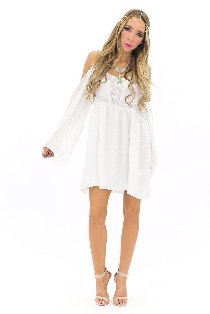SHOULDER CUTOUT BELL SLEEVE SUN DRESS - White