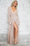 Sequin Slit Wrap Maxi Dress - Blush - Haute & Rebellious