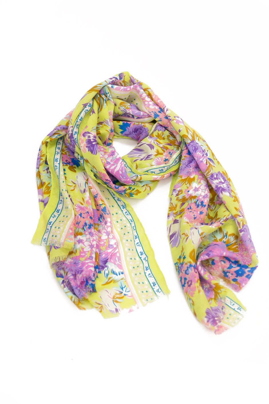 Floral Pattern Sheer Scarf - Neon Lime - Haute & Rebellious