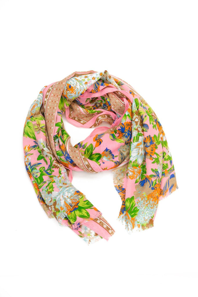 Floral Pattern Sheer Scarf - Neon Pink