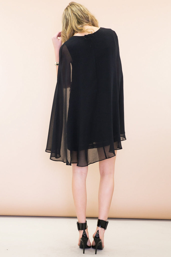 Layla Chiffon Cape Dress