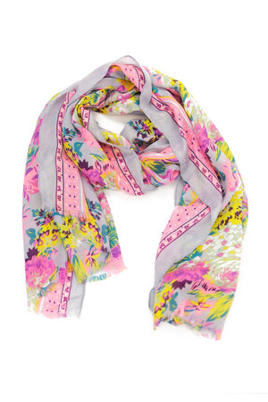 Floral Pattern Sheer Scarf - Pastel Purple - Haute & Rebellious