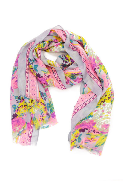 Floral Pattern Sheer Scarf - Pastel Purple