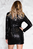 Deep-V Sequin Dress - Black