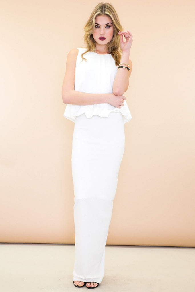 Naimon Cutout Back Maxi Dress - White