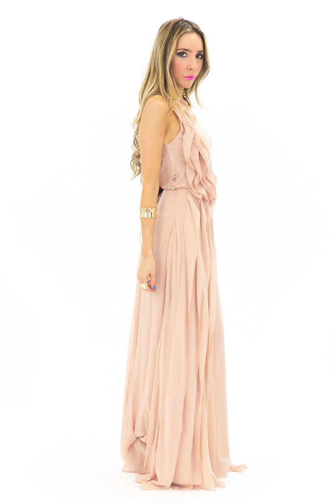 ONE SHOULDER ASYMMETRICAL MAXI DRESS