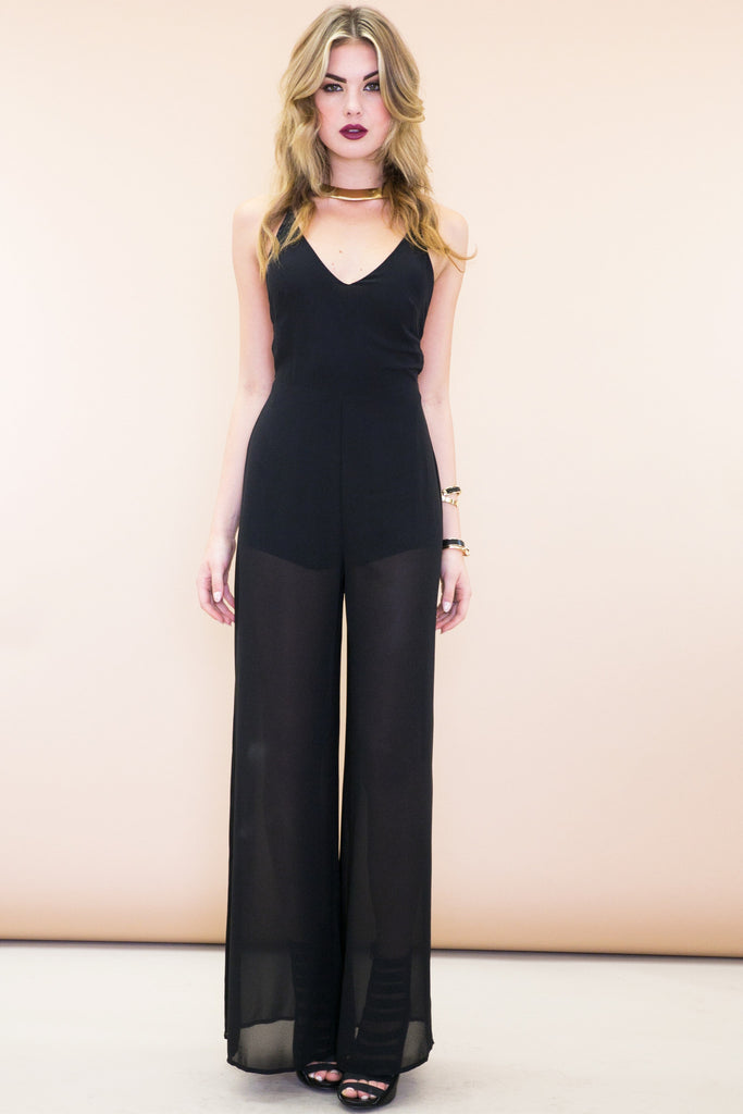 Stella Open-Back Jumpsuit - Black