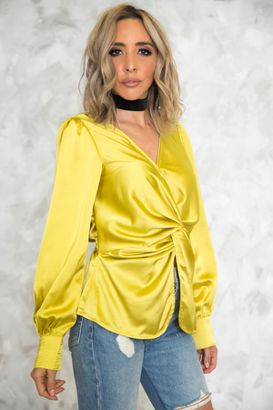 Satin Knot Long Sleeve Blouse - Haute & Rebellious