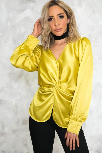 Satin Knot Long Sleeve Blouse