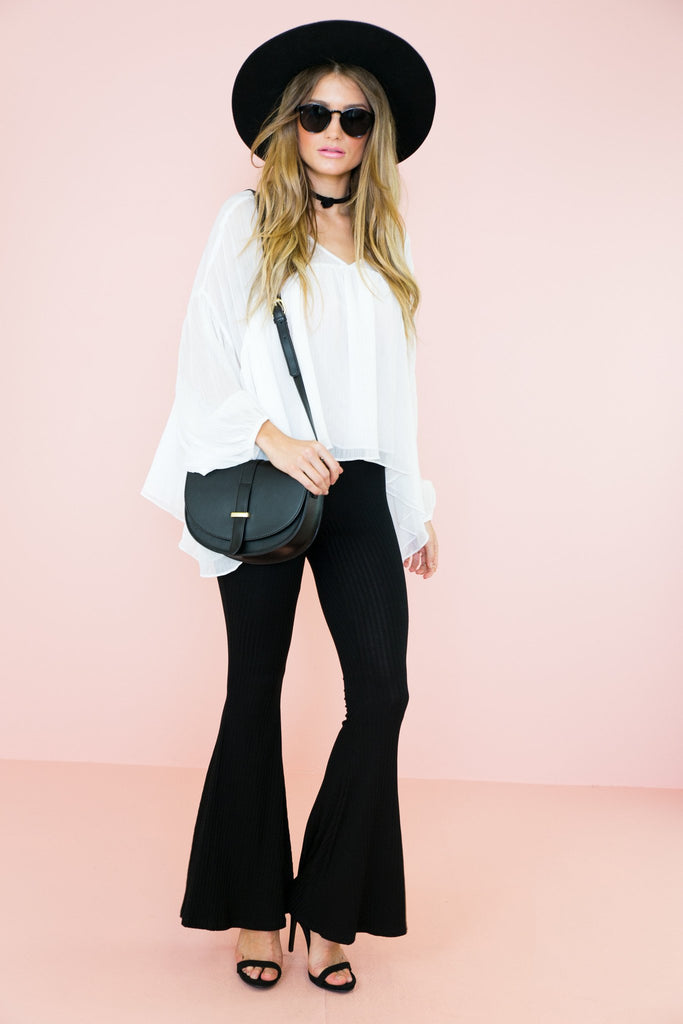 Emilia Ribbed Bell Bottom Pants