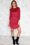 Suede Shift Dress - Wine