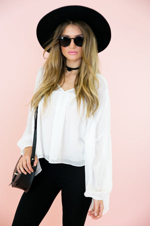 Dacia Sheer Layered Top - White - Haute & Rebellious
