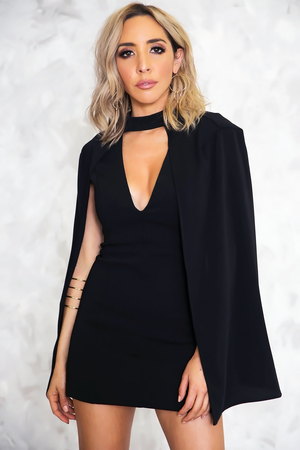 Cape Plunging Neckline Dress /// ONLY 1-L LEFT/// - Haute & Rebellious