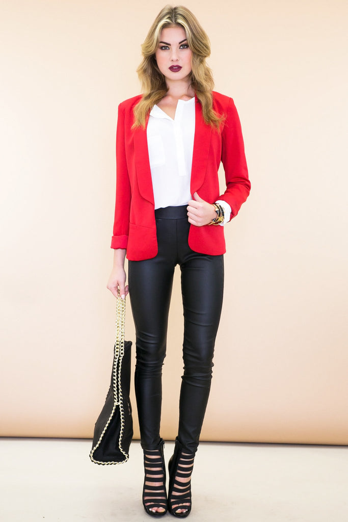Classic Front Pocket Blazer - Red