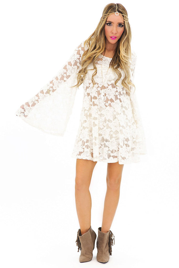 BELL SLEEVE LACE DRESS - White - Haute & Rebellious