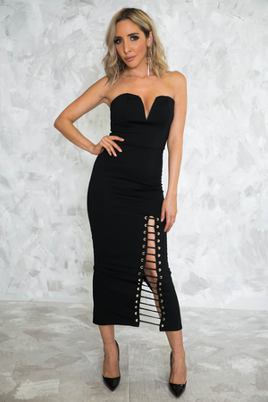 Lace Me Up Strapless Midi Dress /// ONLY 1-M LEFT/// - Haute & Rebellious