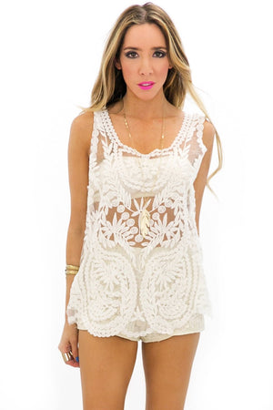 HENIA LACE TANK - White - Haute & Rebellious