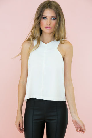 LACE CONTRAST SLEEVELESS BLOUSE - Black (Final Sale)