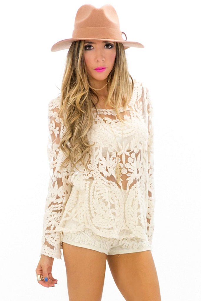 MESH CROCHET SWEATER TOP - Cream