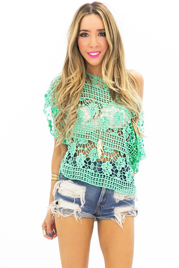 ARWEN NET CROCHET TOP - Mint