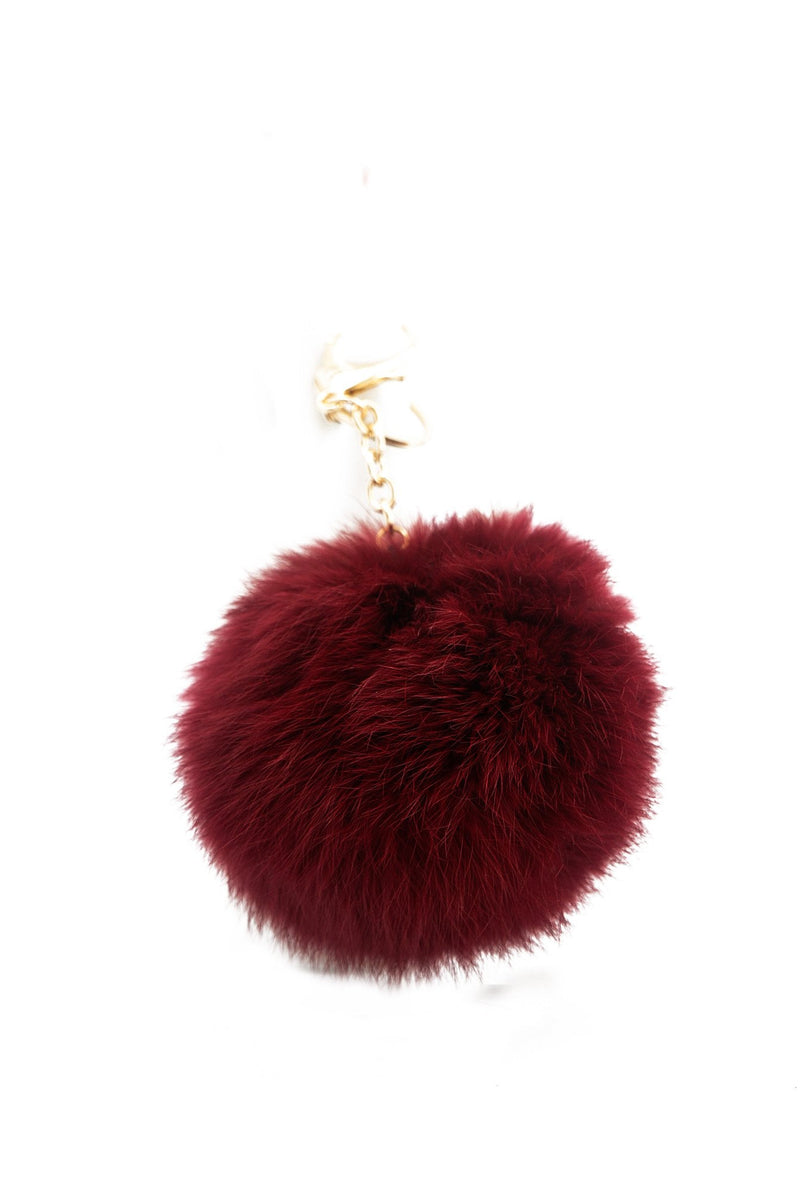 Fur Pom-Pom Key Chain - Maroon - Haute & Rebellious