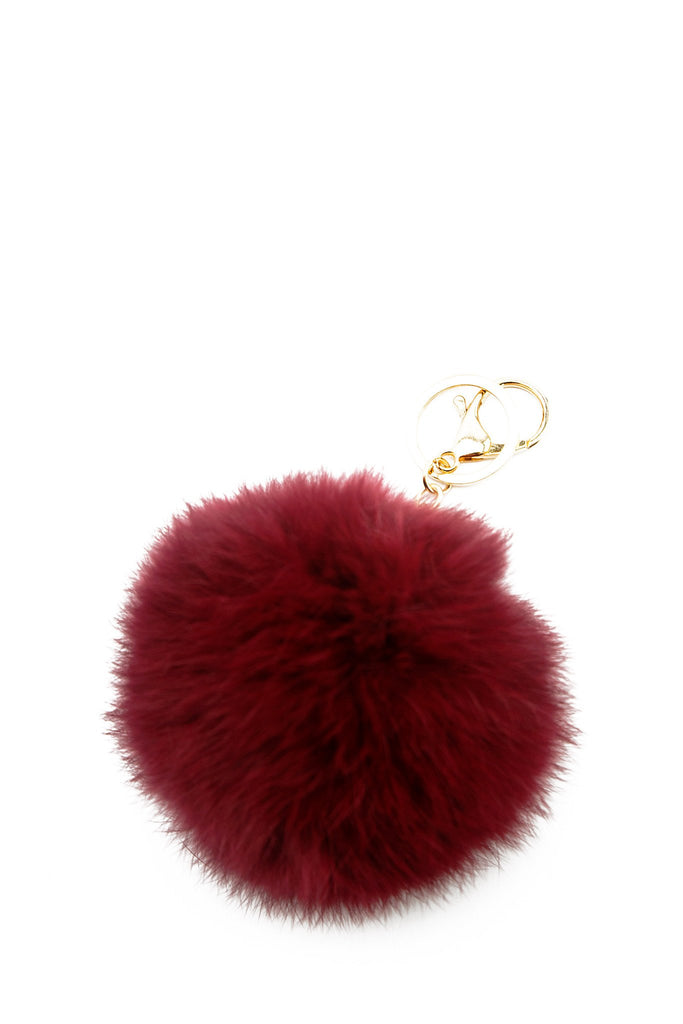 Fur Pom-Pom Key Chain - Maroon