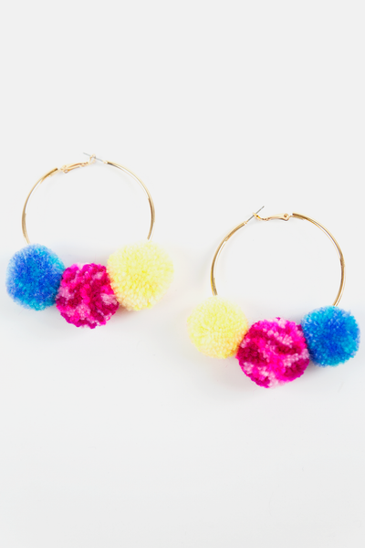 Hoop Pom-Pom Earrings - Yellow