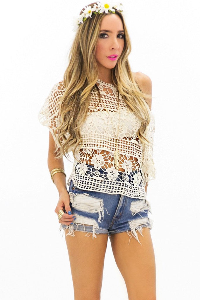 ARWEN NET CROCHET TOP - Ivory
