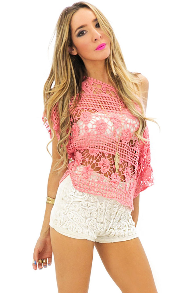 ARWEN NET CROCHET TOP - Peach
