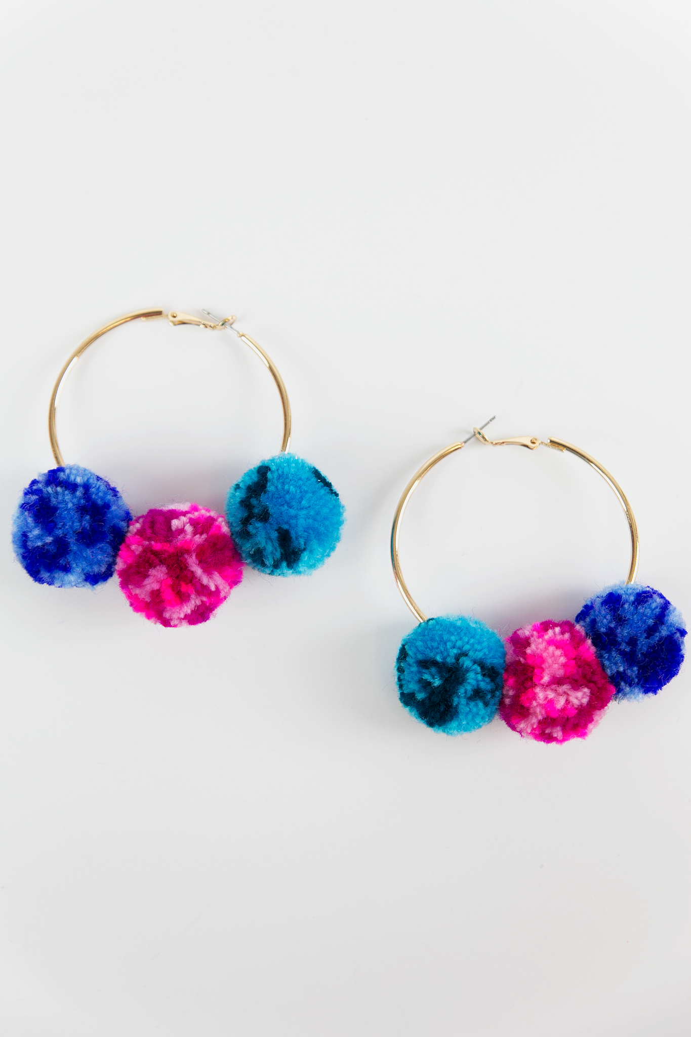 Hoop Pom-Pom Earrings - Blue - Haute & Rebellious