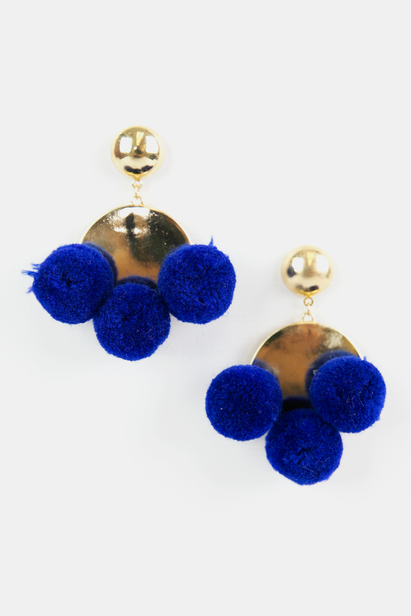 Between Pom Poms Earrings - Blue - Haute & Rebellious