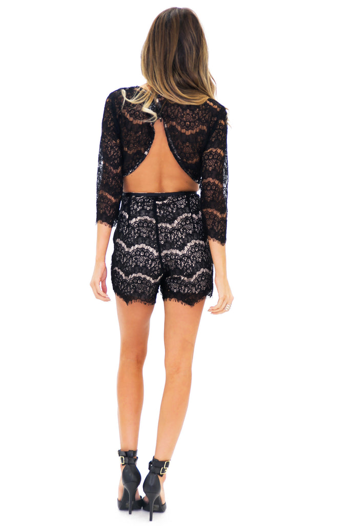 REYA SLIT BACK LACE ROMPER