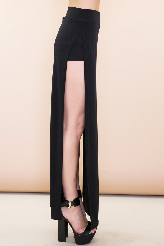Olia Double-Slit Stretch Maxi Skirt - Black