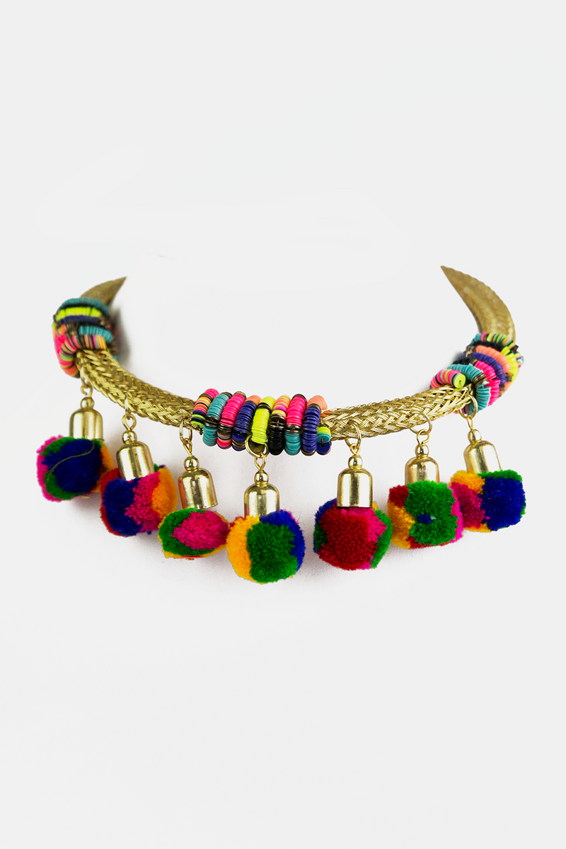 Braided Metal Pom-Pom Necklace - Haute & Rebellious