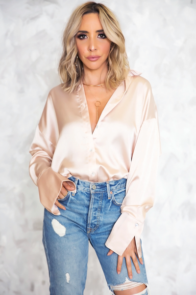 Satin Button-Up Blouse