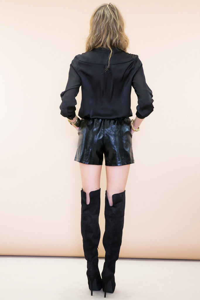 RENSIN VEGAN LEATHER SHORTS