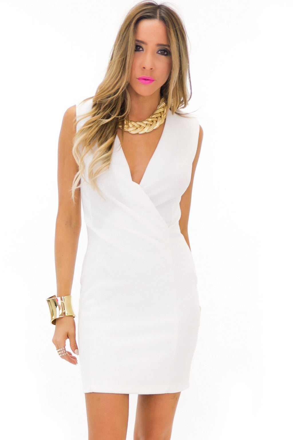 FRANCI SLEEVELESS DEEP-V DRESS - White - Haute & Rebellious