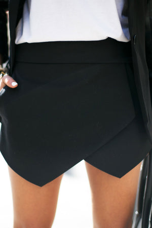 HALIE ASYMMETRICAL SKORT - Black - Haute & Rebellious