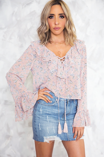 In Bloom Ruffle Blouse - Blush