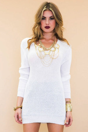 Haria V-Neck Light-Knit Sweater Dress - Haute & Rebellious