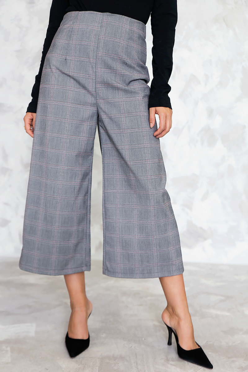 High Waisted Plaid Dress Culotte Pant