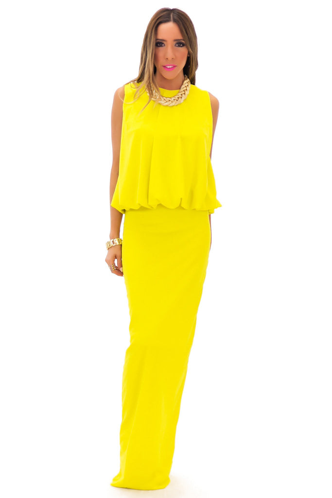NAIMON MAXI DRESS - Lemon